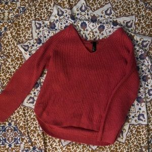bright pink knit sweater from h&m